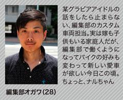今回のバイク王 体験担当 編集部オガワ(28)