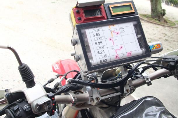 小栗氏のラリーマシンCRF250Xのハンドル周り。世界的に有名なMD製マップケースを装備する
