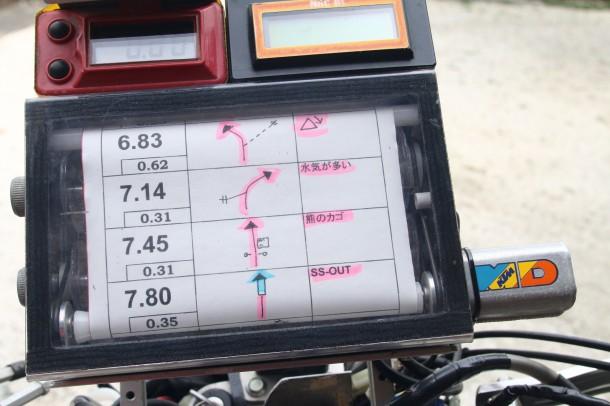 ICOは2個つけるのが基本。距離を補正しながら進みます。ピンクマーキングはSS。小栗さんは塗り分けて識別しやすくしています。