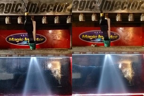 左が施工前。右が施工後。施工後はバルブフェイスが均等になり燃料に強い圧力がかけられるので、いっそう微細で均等な噴霧が可能になる。車輌により、1〜3%も出力特性が高まったという検証結果もある