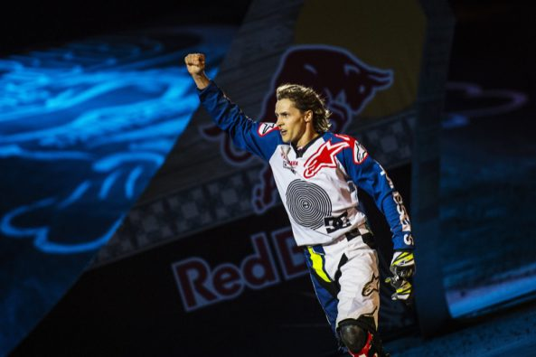 Tom Pages of France celebrates at the Plaza de Toros de Las Ventas during the finalsof the Red Bull X-Fighters in Madrid, Spain on June 24, 2016. // Joerg Mitter / Red Bull Content Pool // P-20160625-00453 // Usage for editorial use only // Please go to www.redbullcontentpool.com for further information. //
