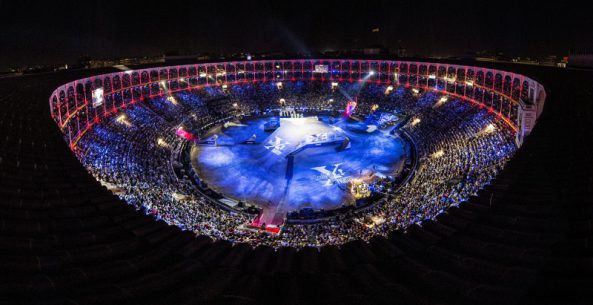 The Las Ventas bull ring seen during the finals of the Red Bull X-Fighters in Madrid, Spain on June 24, 2016 // Jose Luis Carrascosa/Red Bull Content Pool // P-20160625-00527 // Usage for editorial use only // Please go to www.redbullcontentpool.com for further information. //