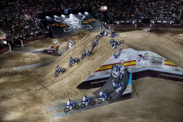 Tom Pages of France performs during the finals at the Red Bull X-fighters in Madrid, Spain on June 24, 2016. // Predrag Vuckovic/Red Bull Content Pool // P-20160625-00399 // Usage for editorial use only // Please go to www.redbullcontentpool.com for further information. //